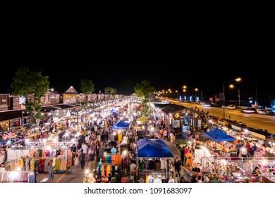 Night market during the holidays (Tegn Terdteung Night Vintage). CIty,Nakhon Nayok Thailand.April 2018