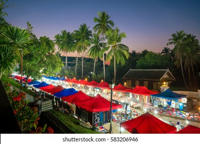 The night market in front of National museum of Luang Prabang