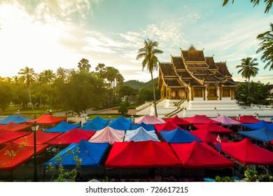 The night market and Haw Pha Bang temple in Luang Prabang, Laos