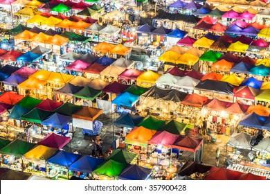 Night market multicolorr Ratchada, Bangkok