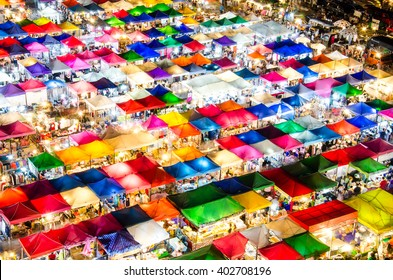 Night market, outdoor market, at Bangkok Thailand.