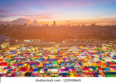 Night Market roof with sunset sky background, Bangkok Thailand cityscape background