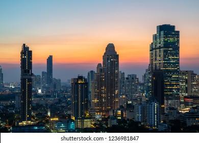 Night of the Metropolitan Bangkok City downtown Cityscape urban skyline tower Thailand  - Landscape Bangkok city Thailand