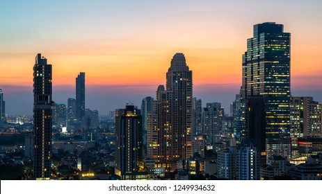 Night of the Metropolitan Bangkok City downtown cityscape urban skyline tower Thailand - City scape Bangkok city Thailand