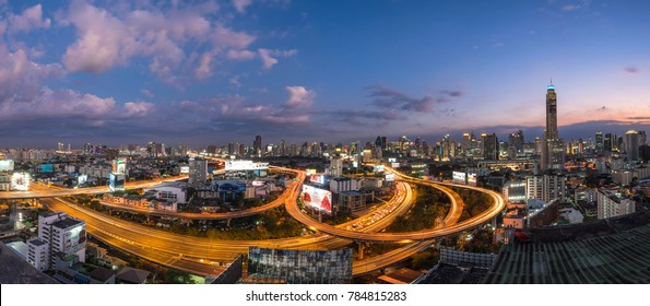 Night of the Metropolitan Bangkok City downtown cityscape urban skyline  Thailand in December 2017 - Cityscape Bangkok city Thailand