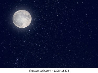Night Moon and dark Sky with Stars Universe as background or Texture