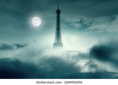 Night with Moon and Eiffel tower in Paris