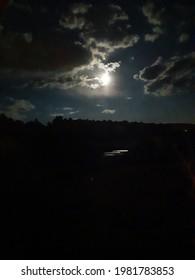 night moon sky clouds fullmoon