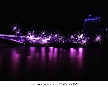 Night Moscow bridge with retro neon lightning background