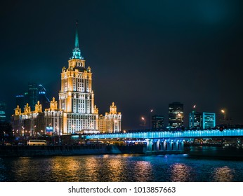 night moscow signature architecture, river, lights, highway, traffic, streets, dark sky