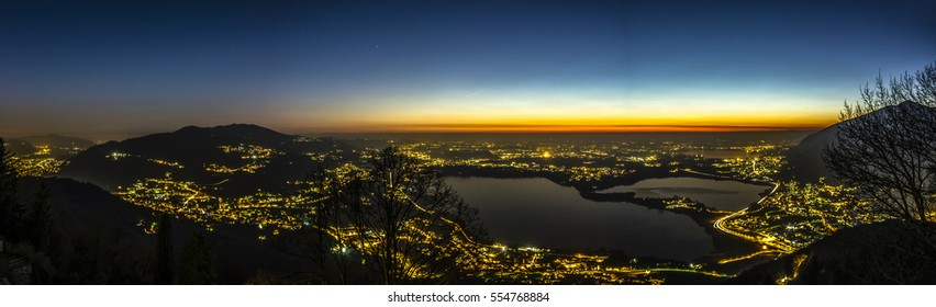 Night from Mount Barro on the Brianza lakes