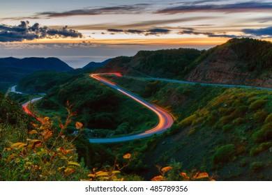 Night mountain road. Sakhalin.
