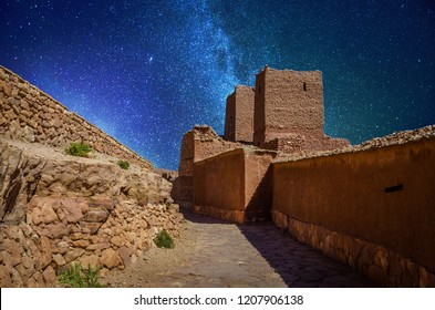 Night narrow streets of Kasbah Ait Ben Haddou in the desert, Morocco