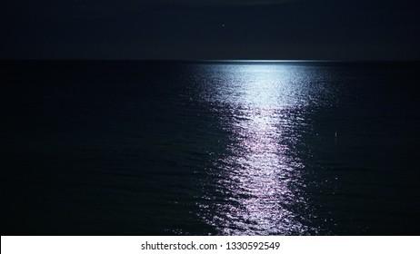 Night ocean and moonlight