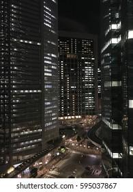 Night office street in Shiodome,TOKYO,JAPAN
