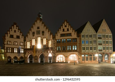 At night at the old townhall of Frankfurt, Hesse, Germany, which is called Roman in common parlance