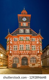 At night at the old townhall of Heppenheim, Hesse, Germany, which was build from 1693