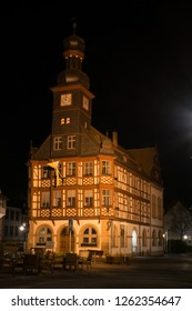 At night at the old townhall of Lorsch, Hesse, Germany