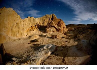 Night on desert canyon named Shekelmes in eastern Kazakhstan