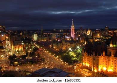 Night over the city in Ottawa, Canada