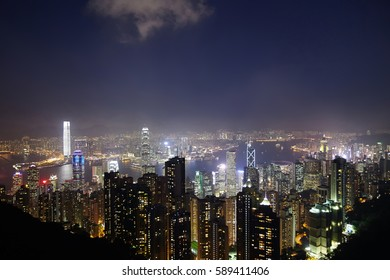 Night over Victoria Harbor as viewed atop Victoria Peak in Hong Kong, China