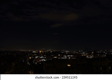 Night overview of the Garbatella district in Rome, Italy