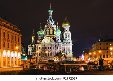 Night panorama of ancient town church (St. Petersburg, Russia)