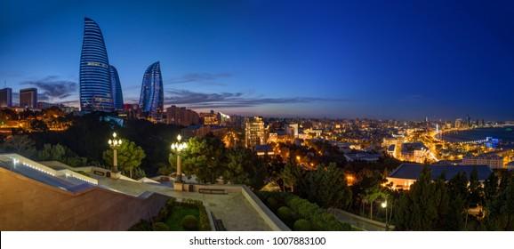 night panorama in Baku, Azerbaijan
