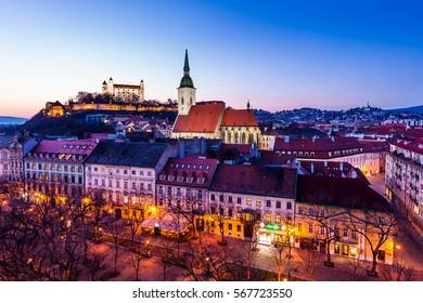 Night panorama of Bratislava city