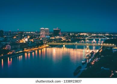 Night panorama of Bratislava city. Cinematic color correction
