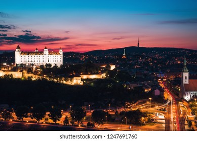 Night panorama of Bratislava city. Landscape with Bratislava castle, after sunset. Capital city of Slovakia