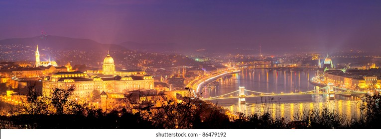 Night panorama Budapest, Hungary