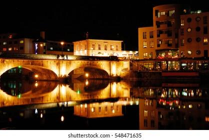 Night panorama of the city of Athlone, northern ireland