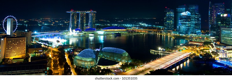 Night Panorama of downtown Singapore