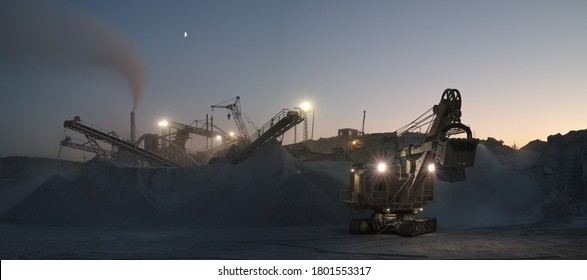 Night panorama of the facilities and equipment of a mining plant, with an excavator in the foreground, with floodlights and a crescent moon on the night sky.