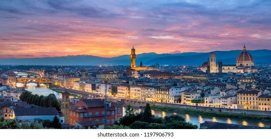 Night panorama of Florence (Firenze) in Italy from Piazza Michelangelo including the cathedral of Santa Maria del Fiore (Duomo), Palazzo Vecchio and Ponte Vecchio. Sunset sky