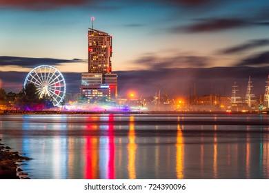 Night panorama of Gdynia City