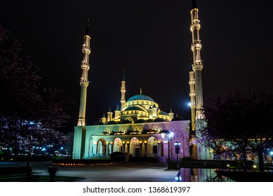Night panorama Of Grozny. The mosque Heart of Chechnya