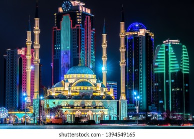 Night panorama Of Grozny. The mosque Heart of Chechnya on the background of Grozny City