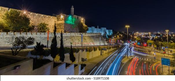 Night panorama of Jerusalem city, Israel