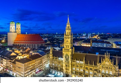 Night panorama of Marienplatz anf Fruenkirche cathedral in  Munich City, Germany.