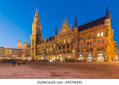 Night panorama of Marienplatz and Munich city hall in Munich, Germany.