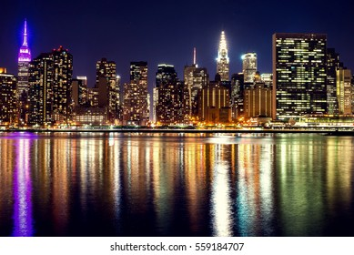 Night panorama of midtown New York City.