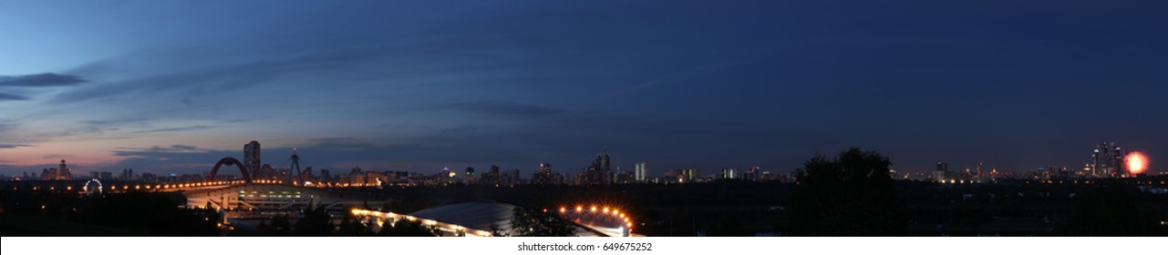 Night panorama of the Moscow city (with the salute fires in the right corner).  15376x3121 resolution