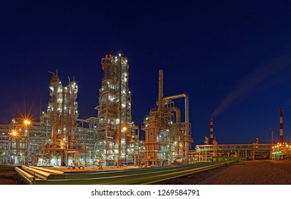 Night panorama of an oil factory