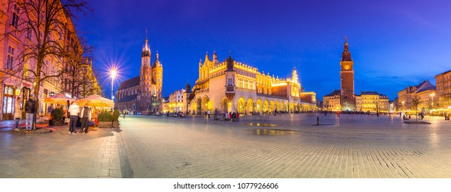 Night panorama of the old town market square of Krakow, Poland.