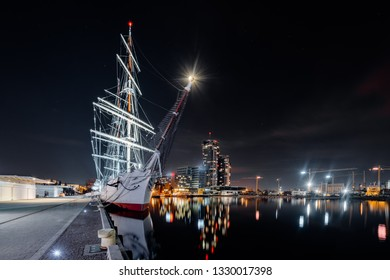 Night panorama on the marine in Gdynia