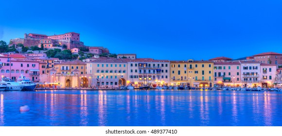 Night panorama over Portoferraio town of  isola d'Elba, Elba island in Tuscany region, Italy.