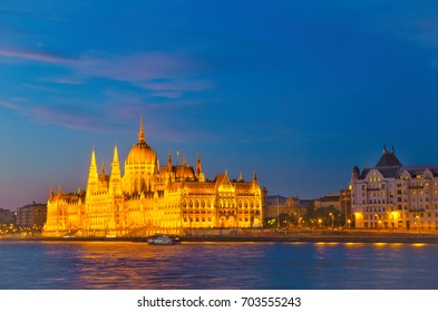 Night panorama of Parliament Building in Budapest, Hungary