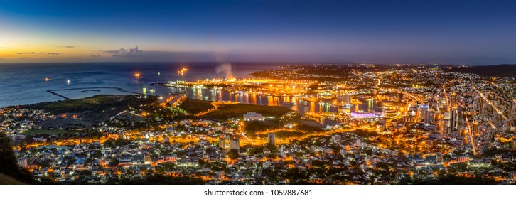 Night panorama of Port-Louis capital of mauritius